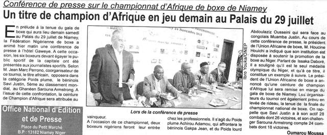 Article de presse du journal